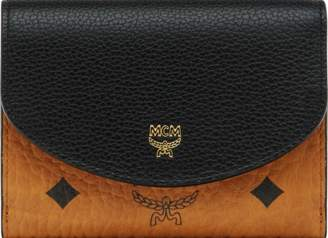 MCM Three Fold Wallet In Visetos Colorblock Leather