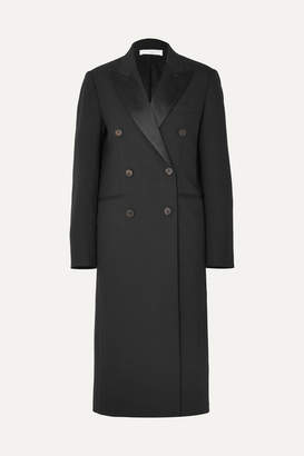 Victoria Beckham Satin-trimmed Wool And Mohair-blend Coat - Black