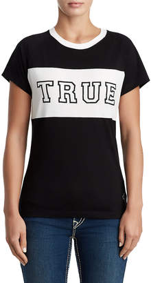 True Religion WOMENS STRIPE VARSITY LOGO TEE