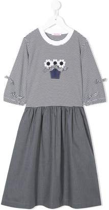 Familiar twofer striped floral top with grey skirt