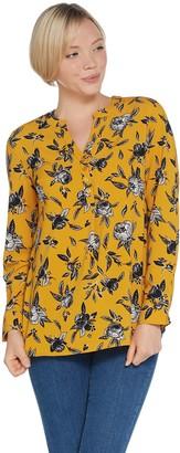 Denim & Co. Etched Floral Print Split Y-Neck Pullover Shirt