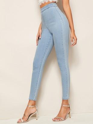 Shein Bleach Wash Zip Back Skinny Jeans