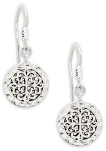 Lois Hill Classic Sterling Silver Embossed Circle Drop Earrings