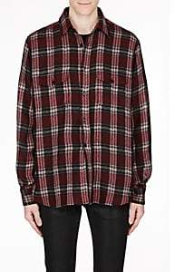 Saint Laurent Men's Check Wool-Blend Gauze Oversized Shirt - Md. Red