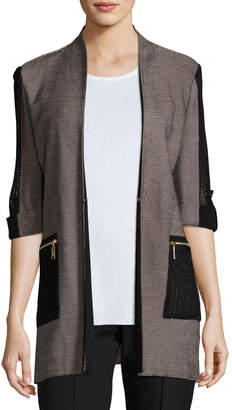 Misook Woven Jacket with Zip Pockets