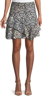 Derek Lam 10 Crosby Mixed-Print Ruffled Mini Skirt