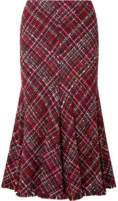 Alexander McQueen Frayed Tweed Midi Skirt - Red