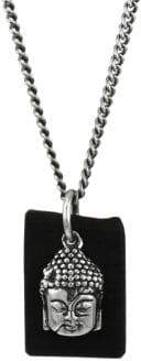 King Baby Studio Sterling Silver& Leather Meditating Buddha Pendant Necklace - Silver Black