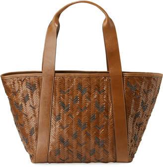 Brunello Cucinelli Woven Monili and Leather Tote Bag