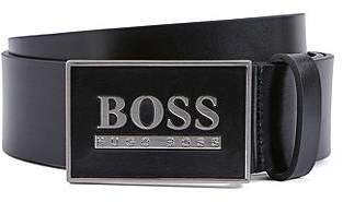HUGO BOSS Smooth-leather belt with statement plaque closure