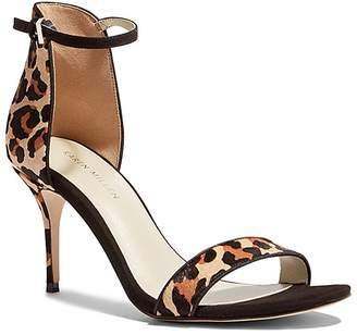 Karen Millen Women's Leopard Print Calf Hair & Leather High Heel Ankle Strap Sandals