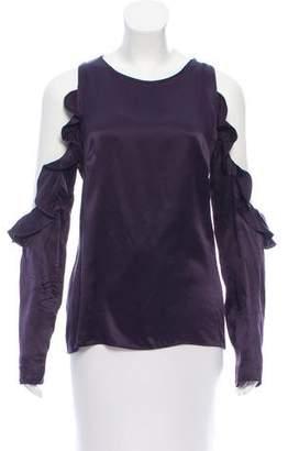 Cushnie et Ochs Cold-Shoulder Silk Top