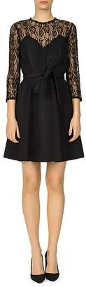 The Kooples Relief Lace-Detail Crepe Dress