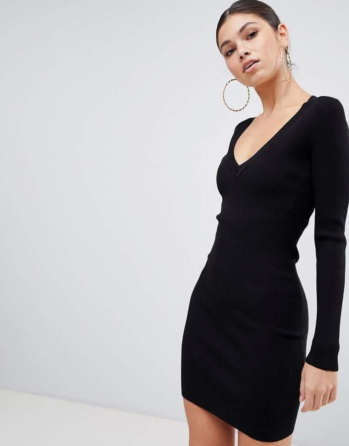 basic v neck mini jumper dress