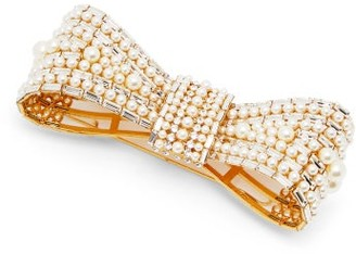 Dolce & Gabbana Crystal And Faux Pearl Embellished Bow Brooch - Womens - Pearl