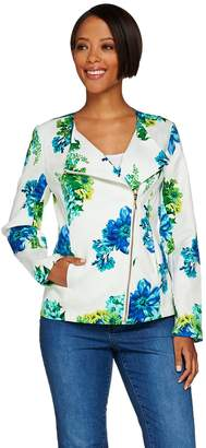 Susan Graver Unlined Stretch Printed Pique Jacket