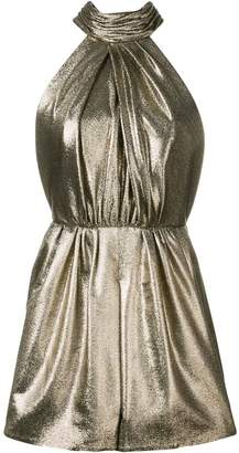 Saint Laurent bow detail metallic playsuit