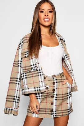 boohoo Petite Oversized Check Denim Mini Skirt
