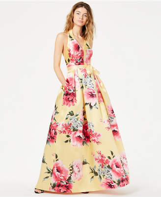 Teeze Me Juniors' Floral-Print Halter Gown, Created for Macy's