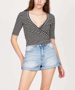 Agent Ninetynine Ribbed Wrap Top Stripe
