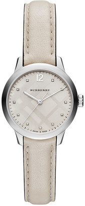 Burberry Women's Swiss Diamond Accent White Leather Strap Watch 32mm BU10105 $995 thestylecure.com