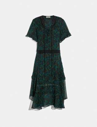Coach Embellished Retro Floral Dress