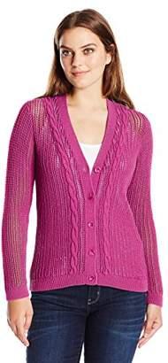 Pendleton Women's Devon Cable Trim Cardigan Sweater