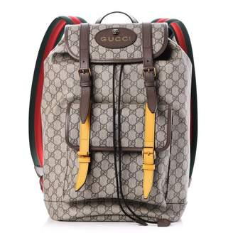 5bb8f139 Gucci Soft Backpack GG Supreme Web Straps Brown Yellow