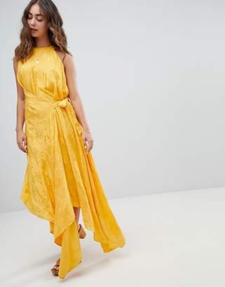 Asos Design DESIGN drape midi dress with tab side in soft jacquard