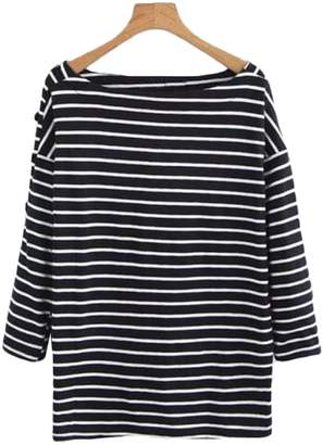 Goodnight Macaroon 'Megali' Boat-neck Striped Top (3 Colors)