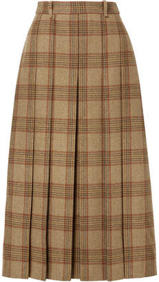 Gucci Belted Checked Wool Midi Skirt - Beige