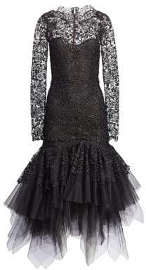 Oscar de la Renta Lace & Tulle Drop Waist Dress