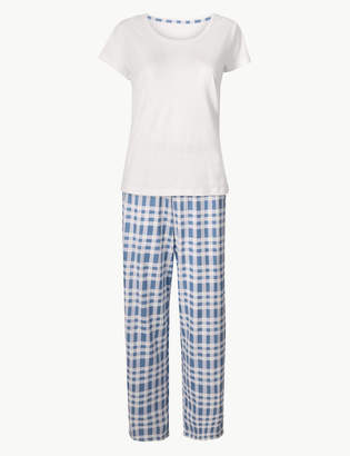 84dc706734 M&S CollectionMarks and Spencer Pure Cotton Checked Pyjama Set