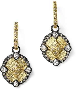 Armenta 18K Yellow Gold and Blackened Sterling Silver Old World Diamond Oval Shield Drop Earrings