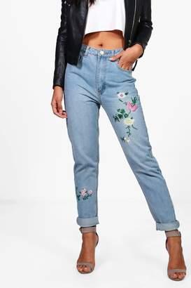 boohoo Sophie High Waist Embroidered Leg Mom Jeans