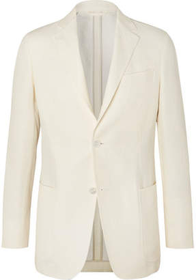 Ermenegildo Zegna Cream Slim-Fit Unstructured Linen, Cotton And Silk-Blend Canvas Blazer