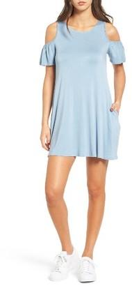 Women's Socialite Ruffle Cold Shoulder Dress $39 thestylecure.com