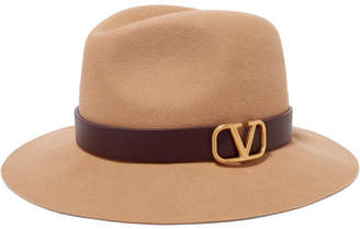 Valentino Garavani Embellished Leather-trimmed Rabbit-felt Fedora - Cream