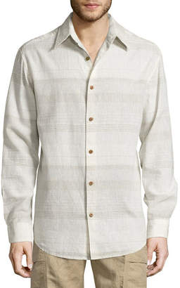 Island Shores Long Sleeve Stripe Button-Front Shirt