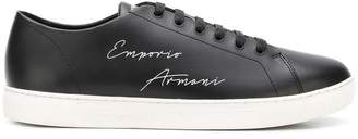 Emporio Armani lace up logo sneakers
