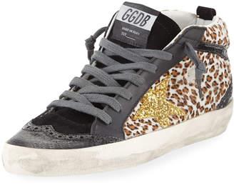 Golden Goose Leopard Mixed-Media Sneakers