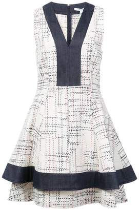 Derek Lam 10 Crosby V-Neck Fit & Flare Dress with Denim Contrast