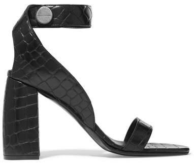Stella McCartney - Croc-effect Faux Leather Sandals - Black