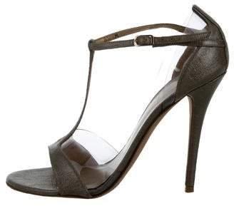 Stuart Weitzman Metallic T-Strap Sandals