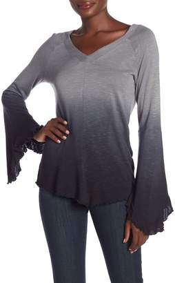 Seven7 Ombre V-Neck Flared Long Sleeve Top