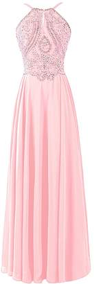 Dresstells® Chiffon Prom Dress Long Halter Bridesmaid Gown with Beads