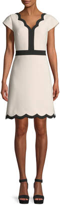 Kate Spade scalloped v-neck a-line mini dress