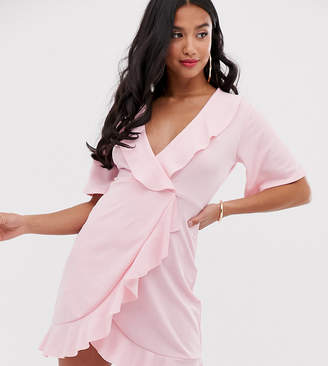 PrettyLittleThing Petite Petite wrap dress with frill detail in pink
