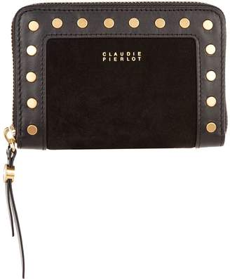 Claudie Pierlot Leather Studded Zip-Around Wallet