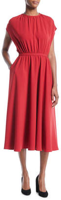 Co Sleeveless Gathered-Bodice A-Line Kimono Midi Crepe Dress with Pockets